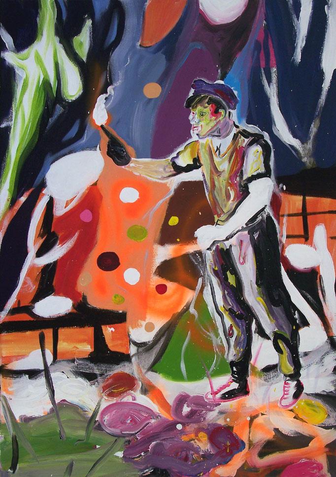 """Oliver Kropf, """"022"""", 100 x 70 cm, Acryl auf Baumwolle, 2020"""