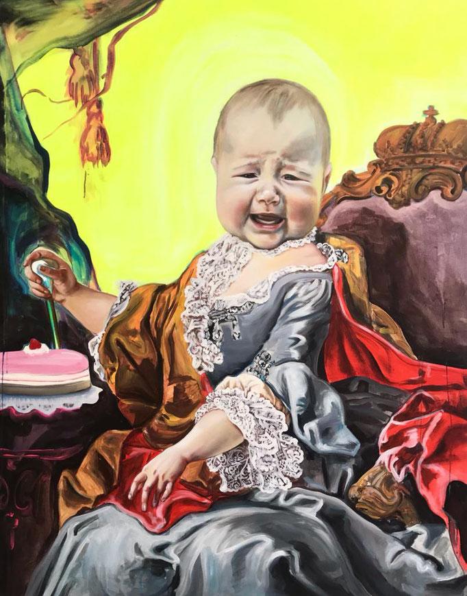 Katharina Karner, Herrscherbild 01 (Wanda als Maria Theresia nach Martin van Meytens),Öl, Acryl auf Leinwand, 180 x 140 cm, 2020