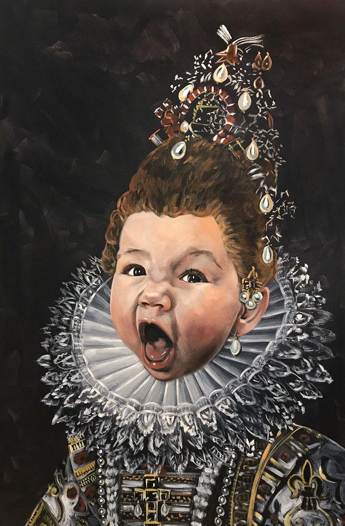 Katharina Karner, Herrscherbild 09 (Wanda als Isabella von Spanien nach Frans Pourbus), Öl, Acryl auf Leinwand, 150 x 100 cm, 2021