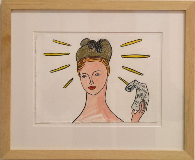 """Moritz Götze, """"kleine Linz-Madonna"""", 2009, Mischtechnik auf Papier, gerahmt, 25 x 19 cm"""