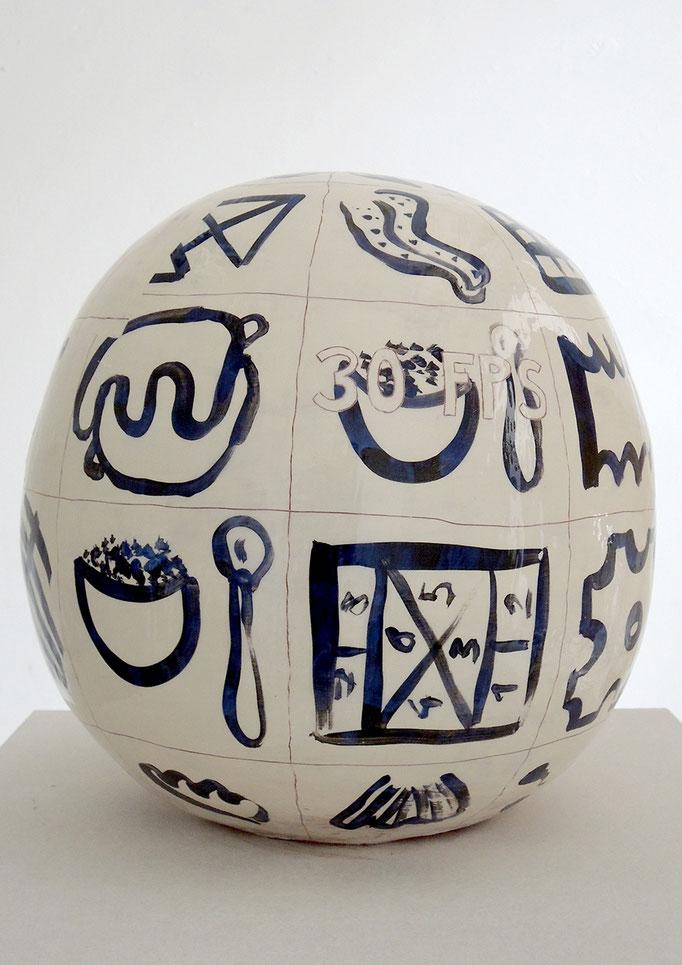"""Oktavia Schreiner, Körper die nicht so richtig dazu gehören"""", 2017, Keramik, 31 x 31 x 34 cm"""