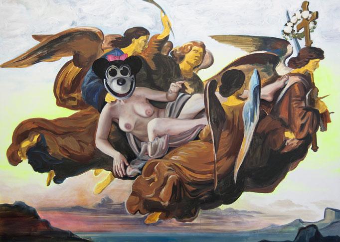 """Katharina Karner, """"Himmelfahrt - Selbstportrait als Heilige Katharina als Minnie-Maus verkleidet"""", Öl, Acryl auf Leinwand, 150x200 cm, 2013"""