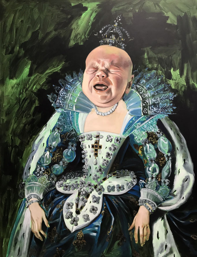 Katharina Karner, Herrscherbild 02 (Oskar als Anna von Österreich nach Peter Paul Rubens), Öl, Acryl auf Leinwand, 180 x 140 cm, 2020