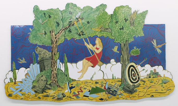 """Moritz Götze, """"War und Ist"""", 2020, Emaille, 174 x 292 cm"""