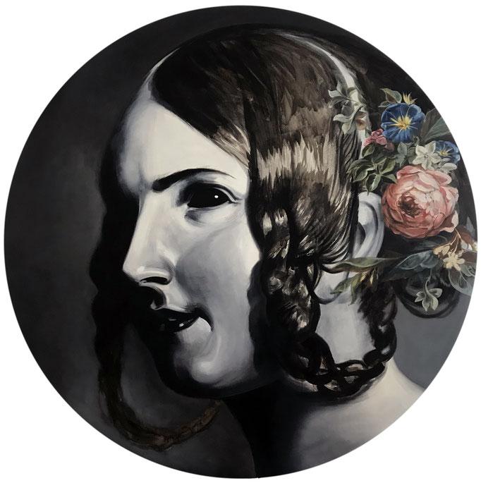 """Katharina Karner, """"Demoiselle"""", 2017 / 2019,  Öl auf Leinwand, Dm, 132 cm"""