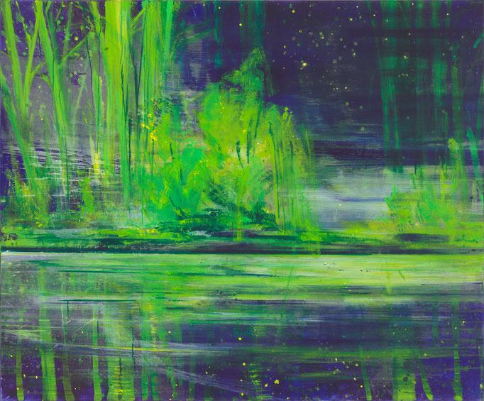 Bernd Zimmer, Weiher. Weide, 2010/11, Acryl auf Leinwadn, 120 x 145 cm, WVZ 2210