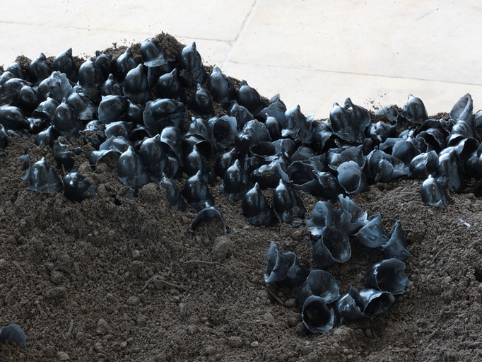 Richard Stone, 2011, topsoil (one tonne), wax casts from  porcelain bird, dimensions variable,  this version approx 610x127x97cm