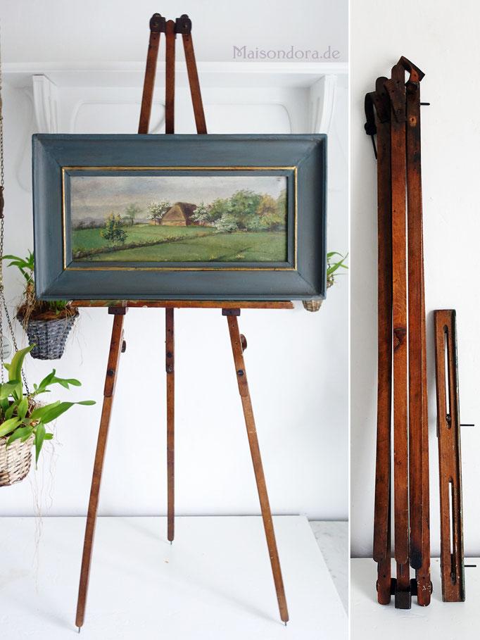 Antike Staffelei Holz mit Ölgemälde Landschaft