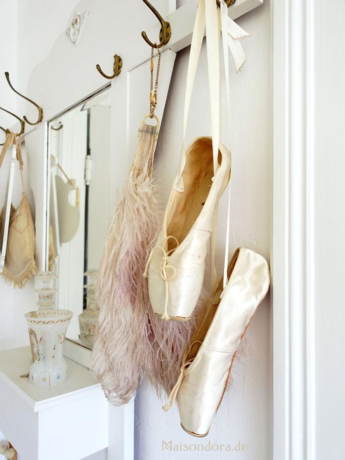 Vintage Ballettschuhe Tanzschuhe Seide & Leder