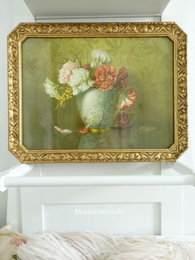 Antikes Bild Stillleben Blumen Chrysanthemen um 1920