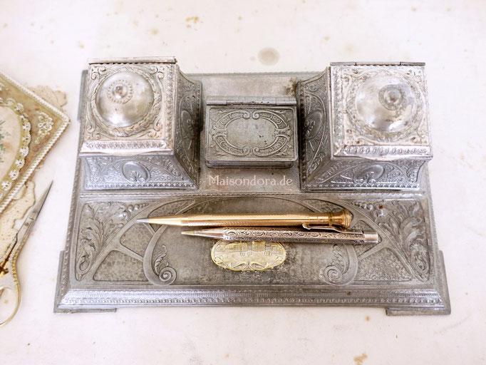 Antike Schreibtischgarnitur Tintenfass Metallblech
