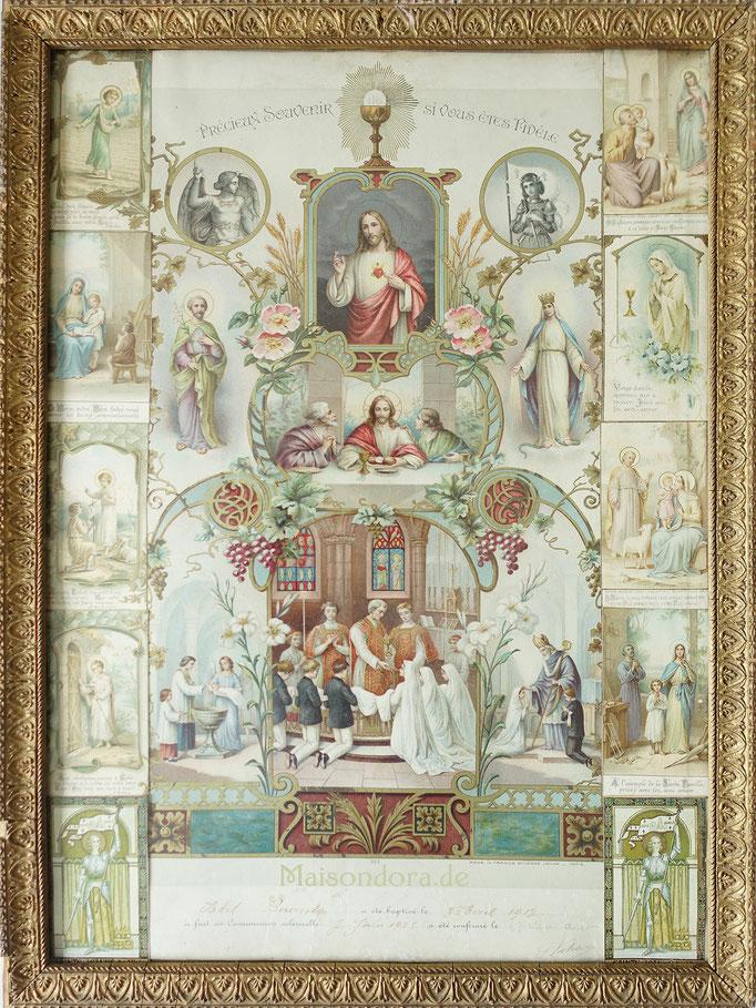 Antikes Heiligenbild Kommunion Frankreich Shabby Jesus