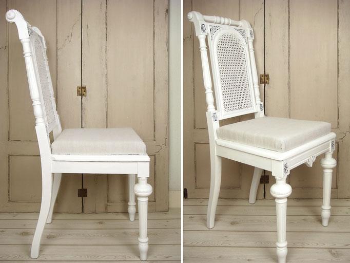 Antiker Stuhl Shabby weiß Walzenstuhl