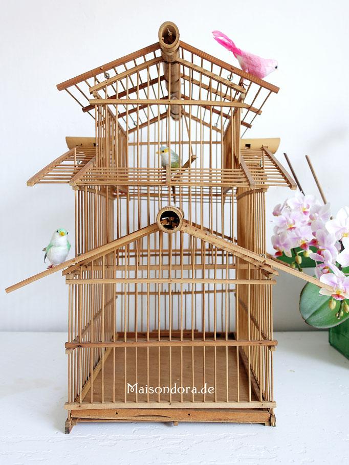 Vintage Vogelkäfig Vogelbauer Pagode Holz China
