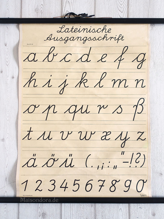 ABC Schul Wandkarte Lateinische Ausgangsschrift Vintage Rollkarte