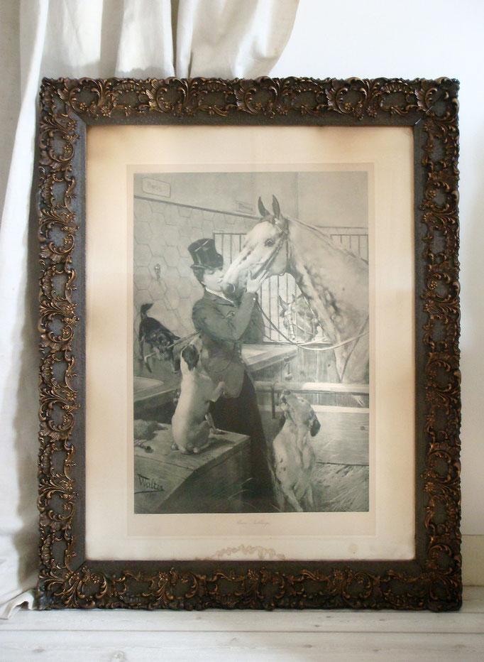 Antiker Prunkrrahmen 1880 mit Lithografie hinter Glas