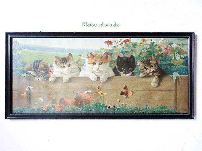 "Vintage Kinderzimmer Bild ""Katzen"""