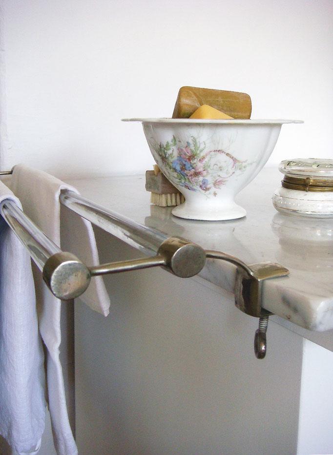 Vintage Handtuchhalter Stangen Glas & Metall Art Deco