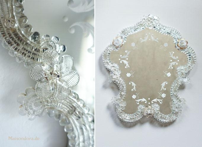Vintage Spiegel mit Glasblumen Florentiner Spiegel