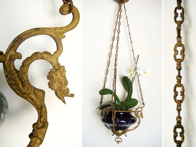 Antike Blumenampel Cachepot Napoleon III Messing Majolika