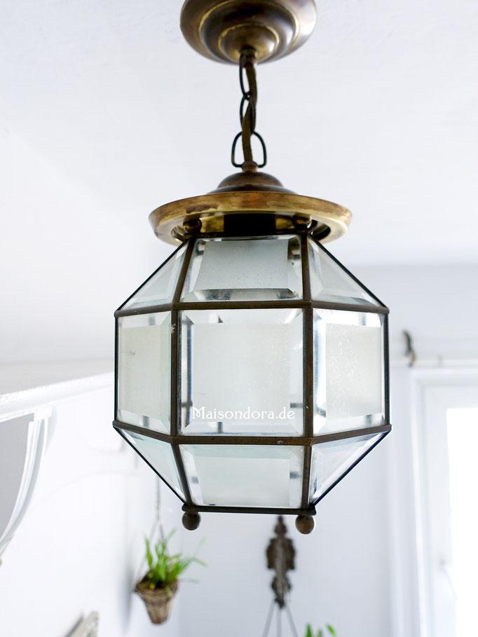 Art Deco Lampion Lampe Glas Messing
