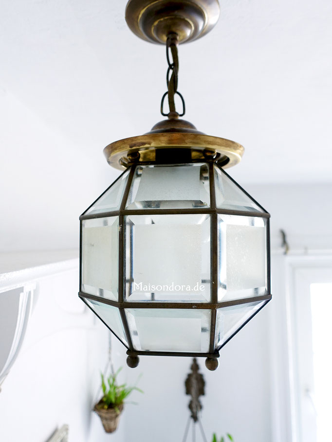 Art Deco Lampion Lampe Glas Messing