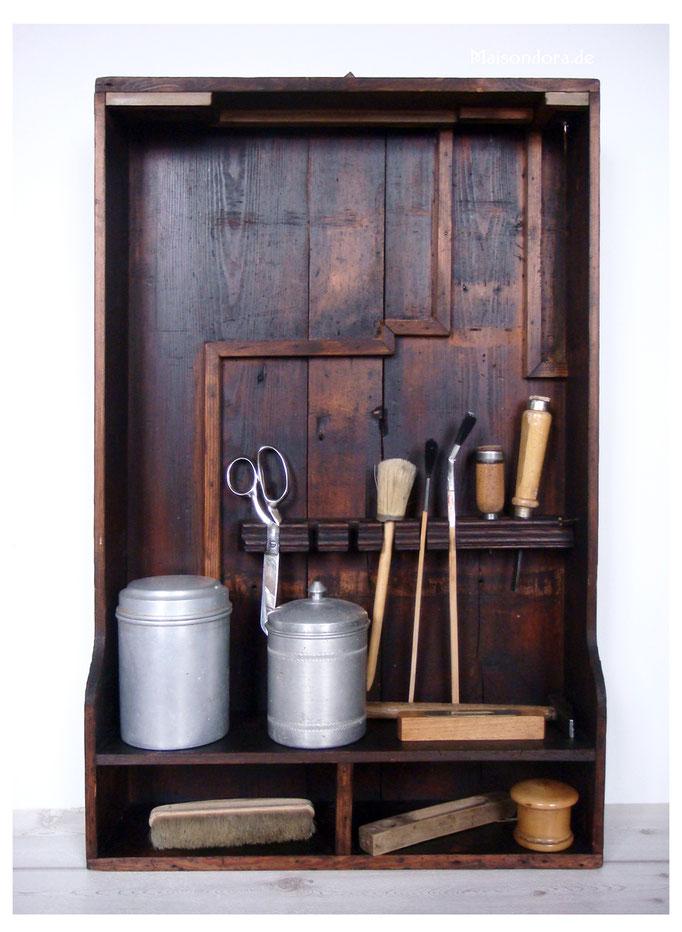 Uraltes Werkstatt Bord Holz Display antik 1900