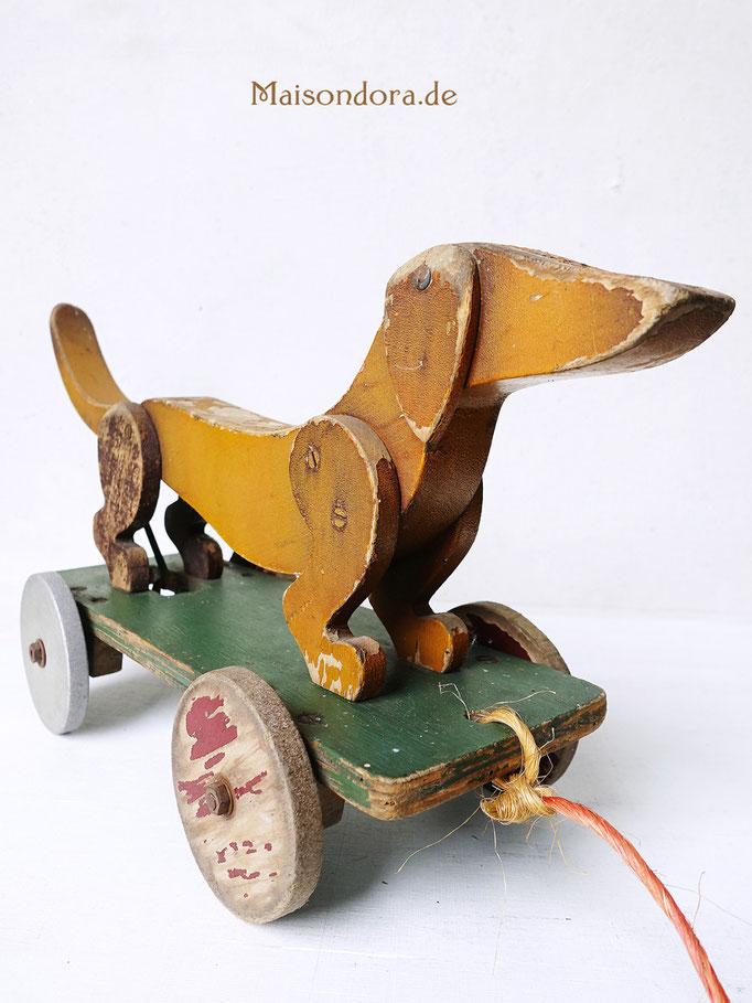 Antikes Spielzeug Ziehtier Dackel Holz Shabby Vintage