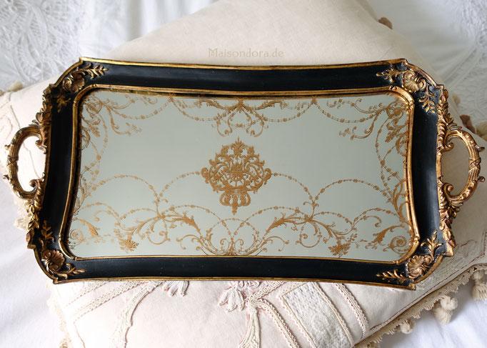 Vintage Tablett mit Glasmalerei schwarz & gold