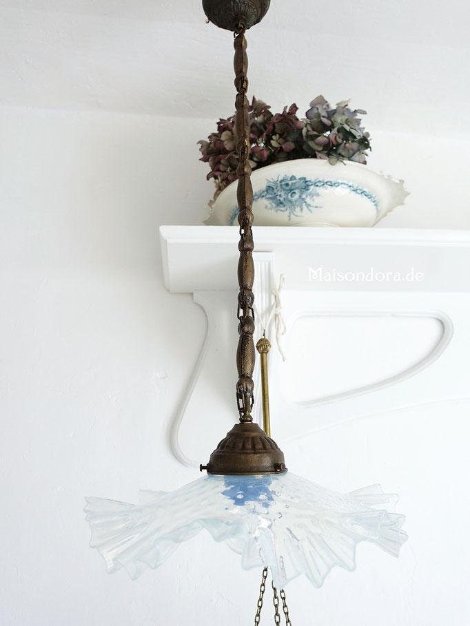 Antike Decken Lampe Jugendstil Frankreich Glasschirm
