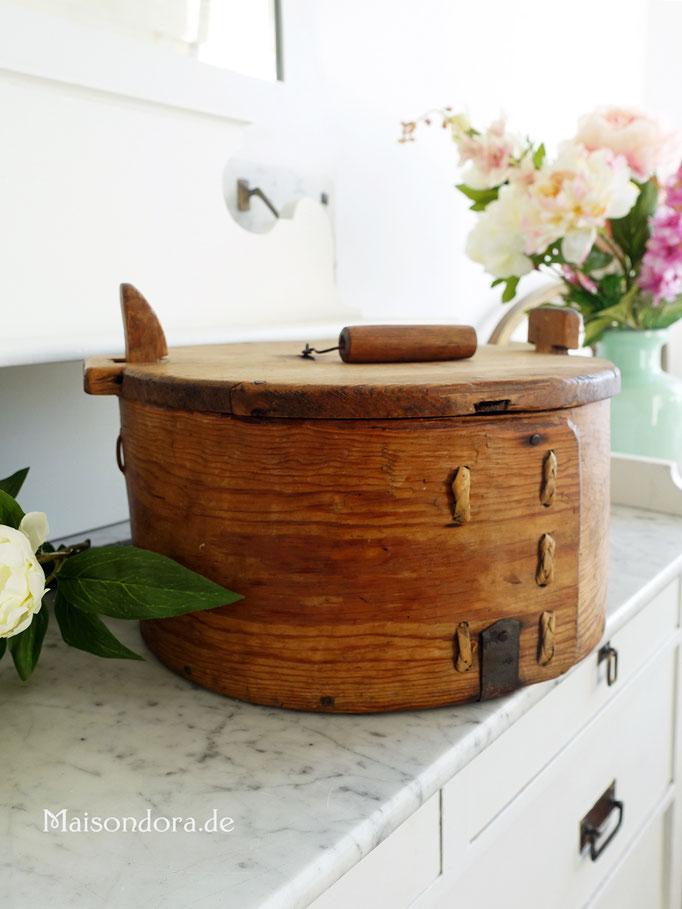 Antike Brotdose Brotkasten aus Holz
