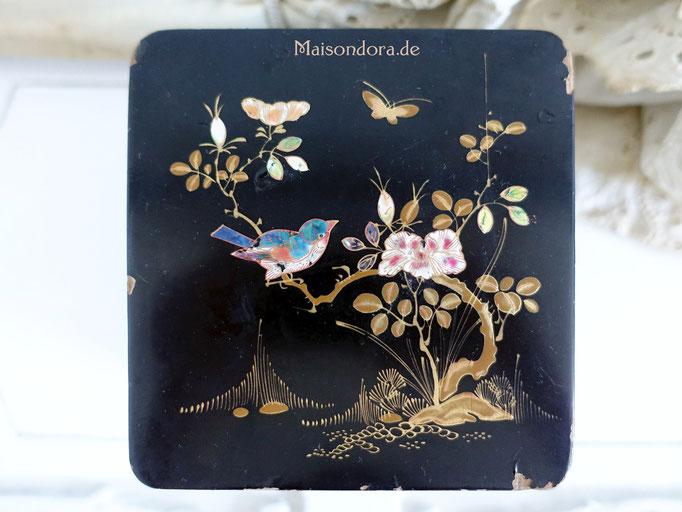 Antike Lack Dose Teedose Schatulle Chinoiserie mit Intarsien