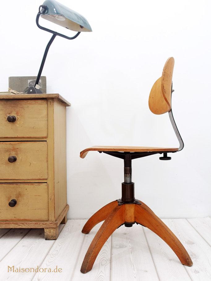 Mid Century Bürostuhl Holz Vintage Drehstuhl