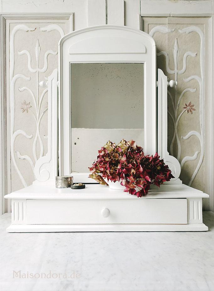 Antiker Spiegel Spiegelkonsole Schwenkspiegel Shabby Landhaus weiss