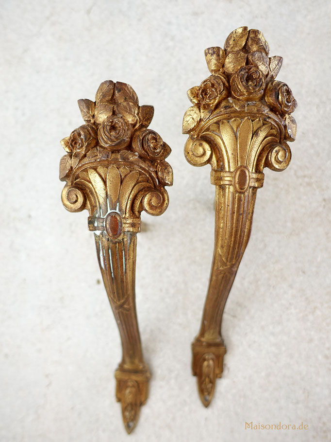 Antike Gardinenraffer Frankreich Messing 1900