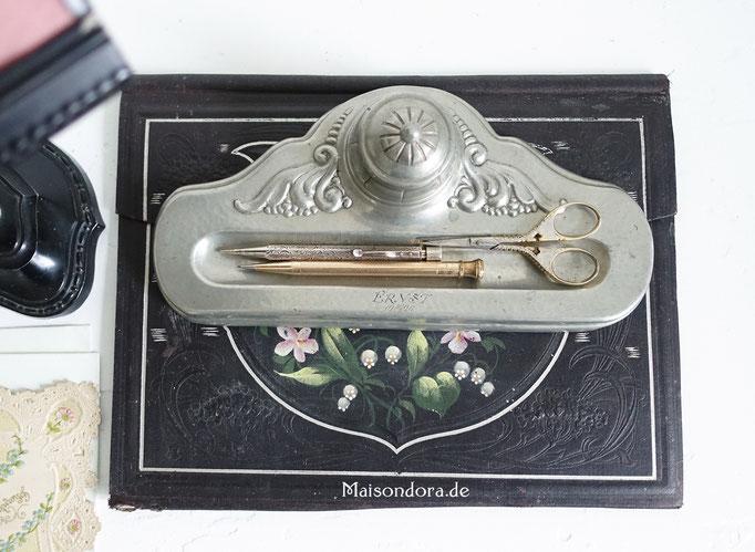 Antike Schreibtischablage Zink 1920