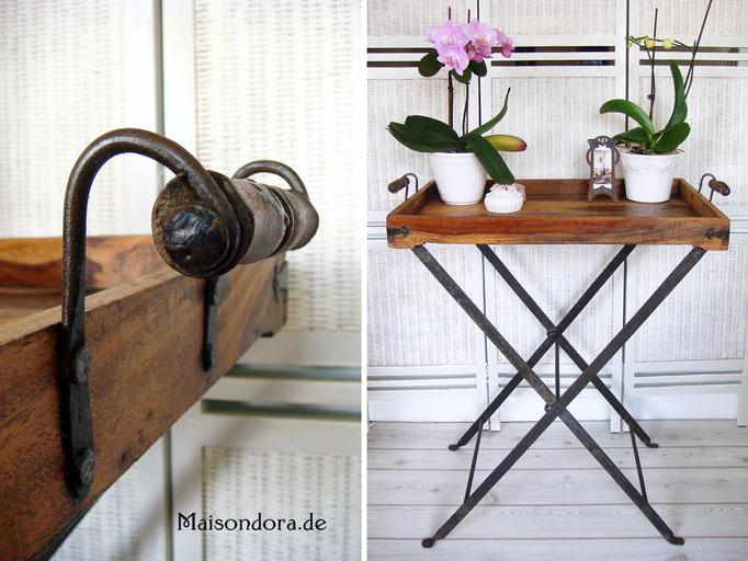 Antiker Gartentisch Tablett Tisch Holz Schmiedeeisen Shabby Landhaus