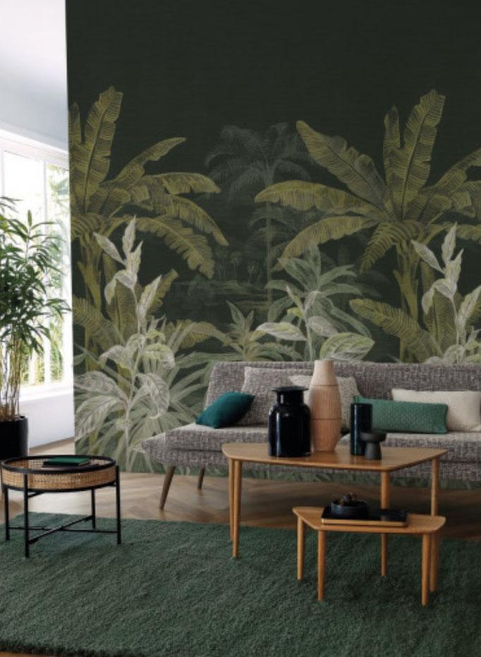 marie saiki papier peint villefranche beaujolais lyon panoramique jungle vert  oléas panoramas casamance