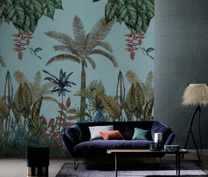 marie saiki papier peint villefranche beaujolais lyon panoramique jungle turquois panoramas casamance