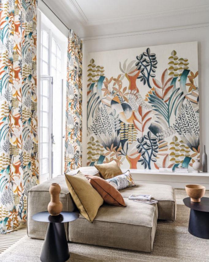 marie saiki papier peint villefranche beaujolais lyon panoramique geométrique coloré jungle vert  panoramas casamance