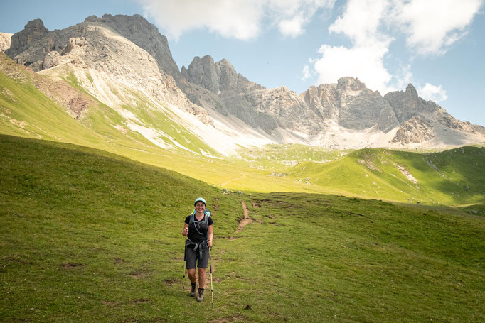 Descending from Forcella Rossa on the 7th day of Alta Via 2