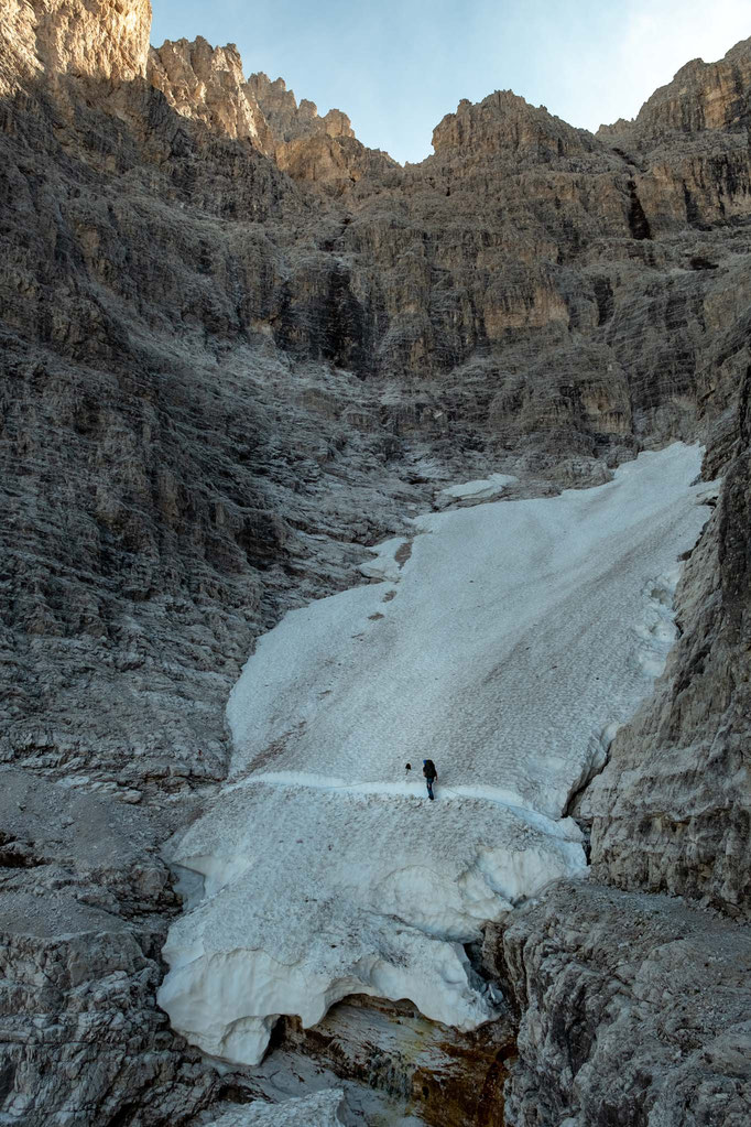 Traversing the tiny glacier