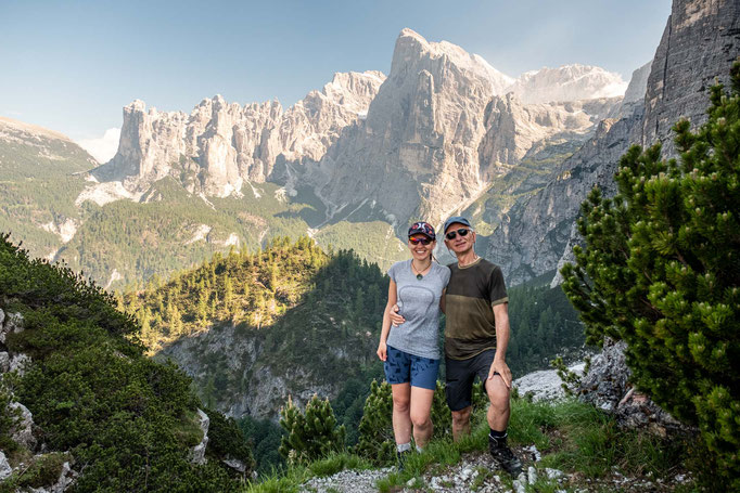 My dad and I posing on the Forcella (saddle) del Camp