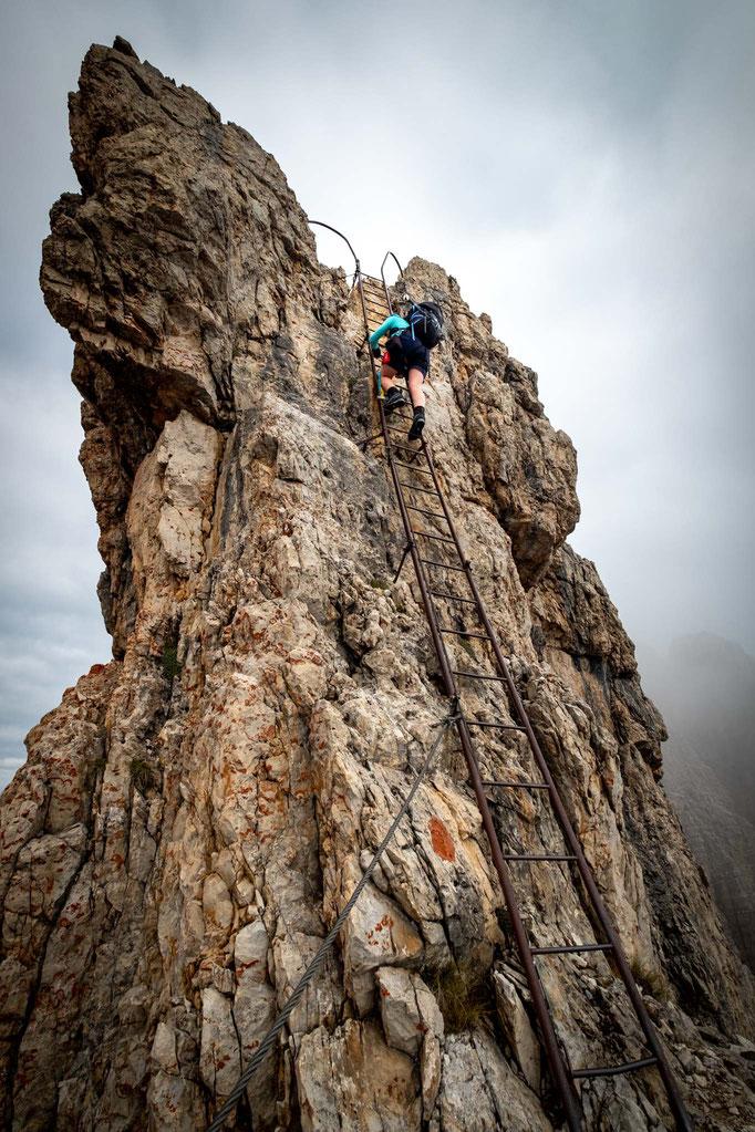 The ladder leading to the Bocchetta della Valazza pass