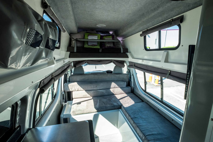 A standard set up for a 3 Berth High top Jucy motorhome