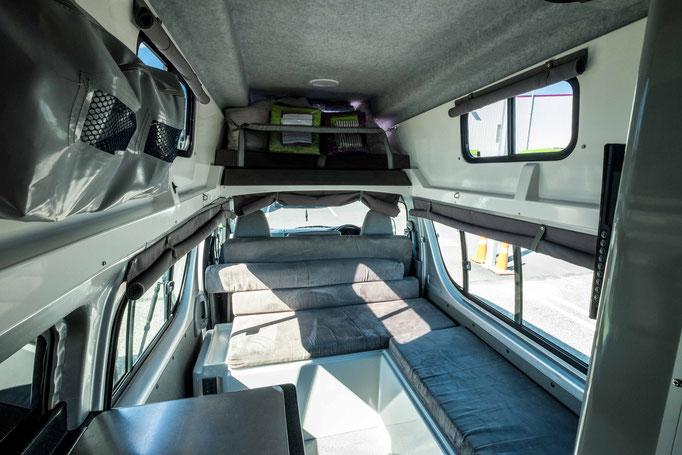 A standard set up for a 3 Berth High top Jucy motorhome