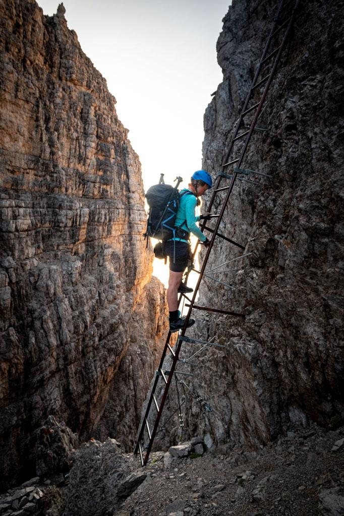 Coming down the ladder onto the narrow Bocchetta Bassa dei Massodi pass