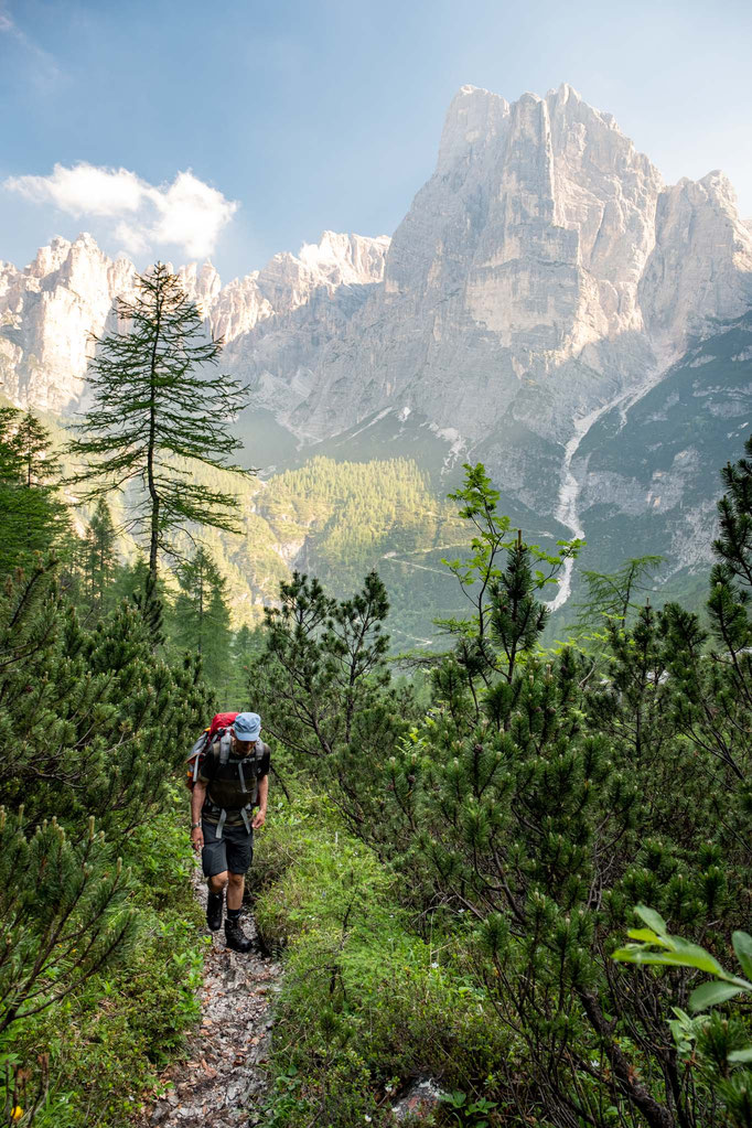 My dad hiking towards Forcella del Camp on the 8th day of Alta Via 1