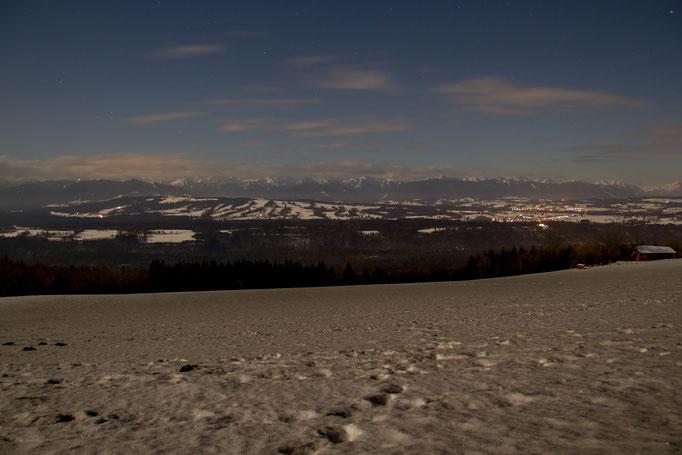 Vollmond auf dem Hohenpeißenberg, Januar 2016