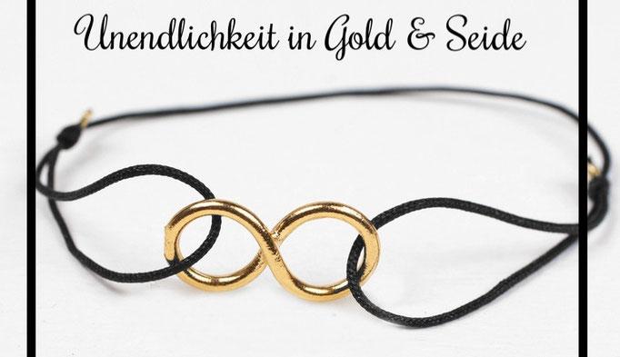 Seidenarmbänder mit goldenem Infinity Symbol